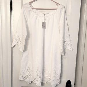 White lace/eyelet off the shoulder dress/tunic